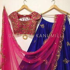 It s all in the details . Beautiful blue designer lehenga from Geethika Kanumilli. Lehenga Saree Design, Half Saree Lehenga, Lehnga Dress, Indian Lehenga, Lehenga Designs, Pink Lehenga, Lehenga Skirt, Party Wear Lehenga, Bridal Lehenga