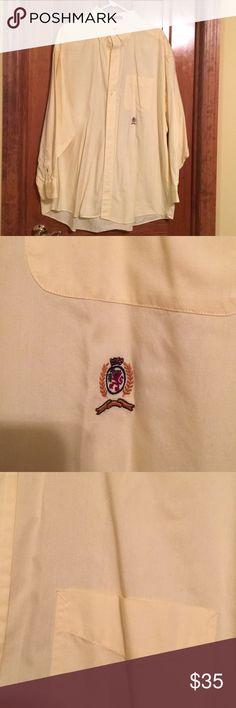 Tommy Hilfiger dress shirt Tommy Hilfiger 18 34/35 Dress shirt in a soft yellow.   Like new. Tommy Hilfiger Shirts Dress Shirts
