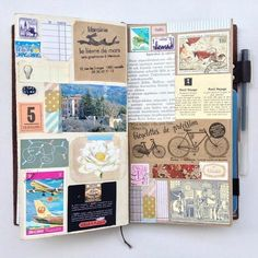 Art journal pages for inspiration, ideas, and technique. Keeping a scrapbook, travel journal, or sketchbook #scrapbooking101