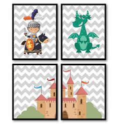 Fairy Tale Nursery Art Child Baby Set of 4 Art by KidsNurseryArt