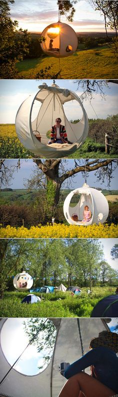 This moon-shaped tent hangs from a sturdy tree after you use its special pulley system. The stainless steel frame collapses for easy transportation, while the floor is built of lightweight pine wood. Each tent is handcrafted and tailor-made to fit your desires, with available upgrades including cushions, rugs, beanbags, and integrated LED lights. Apparently a young man named Rufus Martin came up with the concept for roomoon as a project for school, and then he just kept going and going.