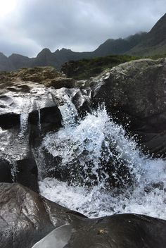"""The northern Black Cullins ridge on the Isle of Skye, Scotland viewed from the """"Fairy pools"""" (photo by Nicky Johnson). One day I hope to be a good enough mountaineer to do a full traverse."""