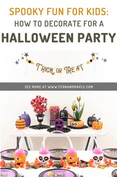 Create a spook-tacular, budget-friendly Halloween party for kids in traditional orange, black and purple with these ideas from fernandmaple.com!
