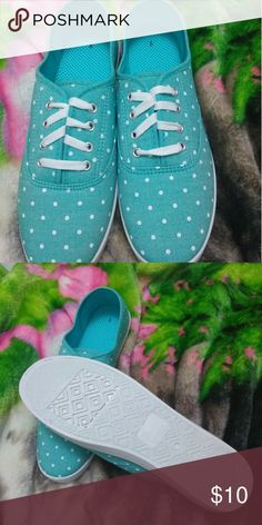 Shoes Blue polka dot shoes new never worn. Shoes Flats & Loafers