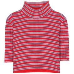 Alessandra Rich Cropped Wool Turtleneck Sweater (£97) ❤ liked on Polyvore featuring tops, sweaters, crop tops, multicoloured, crop top, turtle neck sweater, red turtleneck sweater, red crop top and red striped sweater