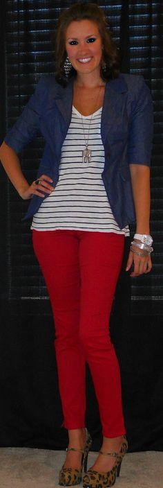 Red jeans, denim blazer, black & white stripes!