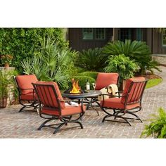 Hampton Bay Redwood Valley 5 Piece Metal Patio Fire Pit Seating Set With  Quarry Red Cushions