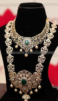 Bridal Diamond Necklace and Long Chain Set - Indian Jewellery Designs Indian Jewellery Design, Indian Jewelry, Jewelry Design, Indian Necklace, Bridal Jewelry, Gold Jewelry, Fine Jewelry, Diamond Jewellery, Indian Diamond Jewelry