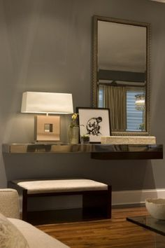 Living Room Wall Table wall mounted small dressing table with mirror lights … | pinteres…
