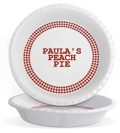 Personalized Pottery Red Gingham Traditional Pie Plate