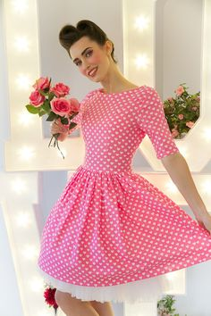 1950's Style Pink & White Love Heart Dress with Sleeve - Silly Old Sea DogSilly Old Sea Dog
