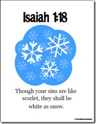 """Isaiah 1:18 memory verse snow printables (""""Though your sins are like scarlet, they shall be white as snow"""")"""