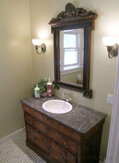 turn dresser into bathroom vanity | antique dresser converted into a vanity