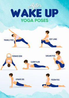 After Wake Up Yoga Poses What do you think of Yoga? Here is a simple yoga program for you! Also, morning yoga makes your day better. Beginner Morning Yoga, Morning Yoga Routine, Morning Yoga Sequences, Beginner Yoga, Advanced Yoga, Wake Up Yoga, Sleep Yoga, Yoga Poses For Sleep, Exercise Fitness