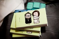 Flipbook favors. It'd be fun to have cartoon versions of ourselves on invitations