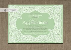 Lace Bridal Shower Invitation Mint Green & White Shabby Chic Rustic Doily Country Elegant DIY Digital or Printed - Amy Collection