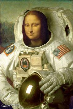 Mona Lisa as a NASA Astronaut, Pop Art.