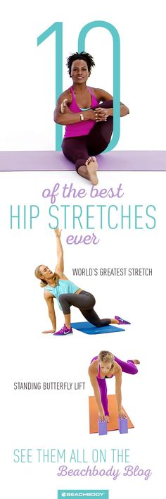 Round up of the best hip stretches for tight hips. best stretching techniques // proper stretching // how to stretch // pigeon pose // yoga // Beachbody // Beachbody Blog // #hipstretches #yogastretches #beachbody