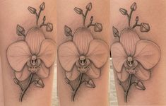 black and white orchid tattoo