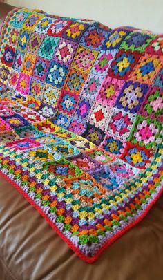 For the Love of Crochet Along: Crochet Blanket Fabulous Bright Colourful Granny . For the Love of Crochet Along: Crochet Blanket Fabulous Bright Colourful Granny Squares Afghan 50 x Granny Square Crochet Pattern, Crochet Squares, Crochet Blanket Patterns, Baby Blanket Crochet, Crochet Baby, Knitting Patterns, Crochet Quilt, Crochet Cushions, Crochet Blocks