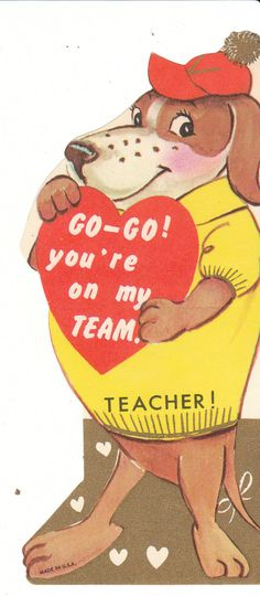 This die-cut vintage Valentine card for a child features a dressed hound dog with a sports theme. Go go! youre on my team, Teacher! By Birdhouse Books on Etsy.