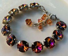 New Swarovski Volcano Rivoli Crystal by HisJewelsCreations on Etsy, $48.00