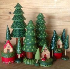 Wooden forest - hand painted wood and paper clay - by Jone Hallmark Wood Peg Dolls, Clothespin Dolls, Christmas Projects, Holiday Crafts, Do It Yourself Crafts, Waldorf Toys, Kids Wood, Paperclay, Christmas Decorations