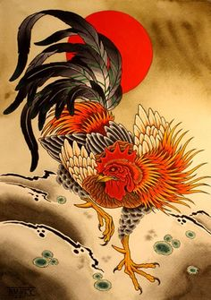 Chinese Astrology: Year of the Yin Fire Rooster January 2017 Chicken Tattoo, Chicken Art, Rooster Painting, Rooster Art, Rooster Images, Black Rooster, Japan Tattoo, Japanese Painting, Japanese Art