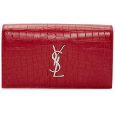 Saint Laurent Red Croc-Embossed Monogram Kate Clutch (11 210 SEK) ❤ liked on Polyvore featuring bags, handbags, clutches, purses, sacs, red, handbags purses, monogrammed handbags, red purse and hand bags