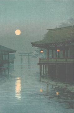 "Art: Japanse Woodblock Print ~Pin via Dromenvangers-Winkeltje: van Yuhan Ito ""Misty Moon at Miyajima""~ Japanese Painting, Chinese Painting, Chinese Art, Japon Illustration, Japanese Illustration, Botanical Illustration, Japanese Woodcut, Hokusai, Art Asiatique"