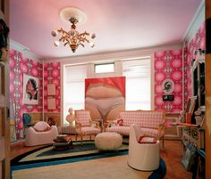 Pink living room in the Harlem home of American visual artist Cary Leibowitz (aka Candyass)