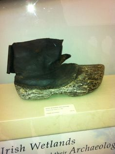 Shoe of wood and Leather, probably 14th C., Wetlands, Ireland