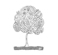 adult coloring Doodle Tree 1 printable digital by Fleurdoodles