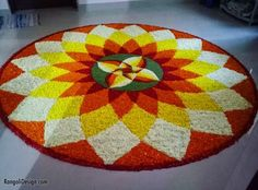 25 Beautiful Pookalam designs for Onam celebration Athapookalam Simple Rangoli Designs Images, Rangoli Designs Flower, Rangoli Patterns, Colorful Rangoli Designs, Rangoli Ideas, Rangoli Designs Diwali, Flower Rangoli, Beautiful Rangoli Designs, Kolam Designs