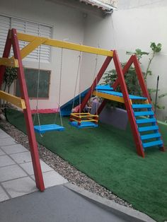 Outdoor toys for holding your kids hectic all time long and switch each of your garden into your recreation space regarding the young children with new outside spin gear. Backyard Swing Sets, Diy Swing, Backyard For Kids, Backyard Projects, Kids Outdoor Play, Outdoor Play Spaces, Kids Play Area, Outdoor Toys, Diy Playground