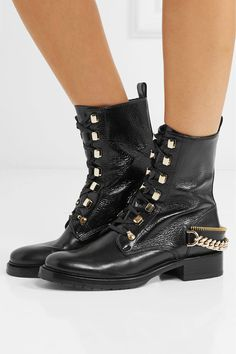 Lanvin - Embellished Glossed Smooth And Textured-leather Ankle Boots - Black 28535d75a6