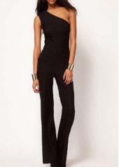 Fashion Style Ankle Length One Shoulder Jumpsuit Black