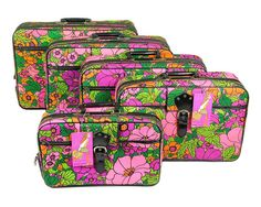 1968 Mod Psychedelic Flower Power Stacking Luggage Set / Set of Five Nesting Suitcases / Sarne Fashion Mates / Made in Japan