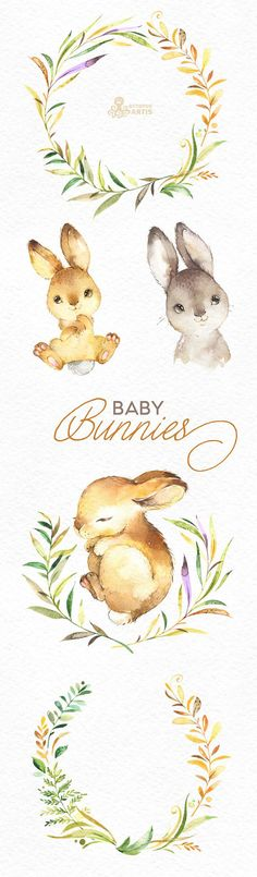 This Baby Bunnies set of 13 high quality hand painted watercolor images. Perfect graphic for any projects, babyshowers, wedding invitations, greeting cards, photos, posters, quotes and more. ----------------------------------------------------------------- This listing includes: 13 x