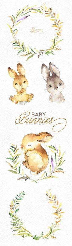 Baby Hasen. Aquarell kleine Tiere und Blumen Clipart Kranz
