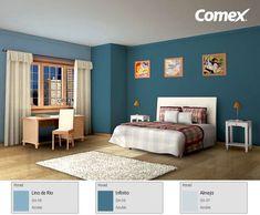 Llénate de azul, cada tono te transportará al mar, al cielo o al infinito. ¡Tú decides! Bedroom Wall Designs, Bedroom Wall Colors, Burgundy Walls, Wall Color Combination, Living Room Color Schemes, Blue Rooms, Master Room, Home Room Design, Contemporary Bedroom