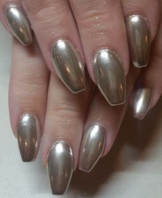 chrome metallic silver ideas nail art design coffin gel acrylic