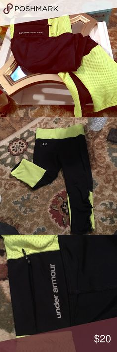 Under Armour spandex athletic pants XS highlighter neon under Armour pants very comfortable. Under Armour Pants Track Pants & Joggers