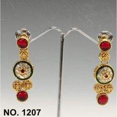 Gold Maroon Color Stylish Earrings By Swarajshop