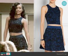 Laura's blue textured crop top and skirt set on Empire.  Outfit Details: http://wornontv.net/54633/ #Empire