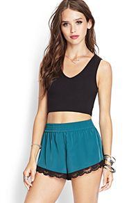 Lace-Trimmed Shorts from Forever 21.  Try them on straight from our app, Cymplifi!  Also available at www.cymplifi.com