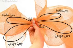 Deco Mesh Bow DIY- diagram Spring has sprung and summer is on its way. With all the flowers in bloom, butterflies are flitting around everywhere. Deco Mesh Bows, Deco Mesh Crafts, Mesh Ribbon, Wreath Crafts, Diy Wreath, Wreath Ideas, Summer Deco, Spring Summer, Mesh Wreath Tutorial