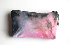 Pink Galaxy Nebula Print Clutch Bag Space Purse Makeup Pouch