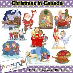 Christmas in the Canada Clip art - a total of 30 images in color, black outline and black and white. Each image is PNG and 300dp Commercial use ok.