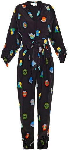 fdd84c4012662 STELLA MCCARTNEY Monia superhero-print jumpsuit Silk Crepe, Petite Jumpsuit,  Silk Jumpsuit,